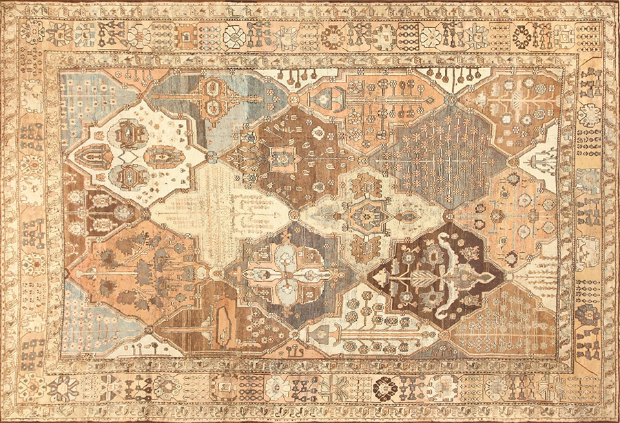 Tribal Garden Design Antique Persian Bakhtiari Rug by nazmiyal