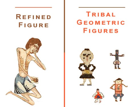 Tribal Geometric Human Figure Patterns vs Refined Human Figure Design by Nazmiyal