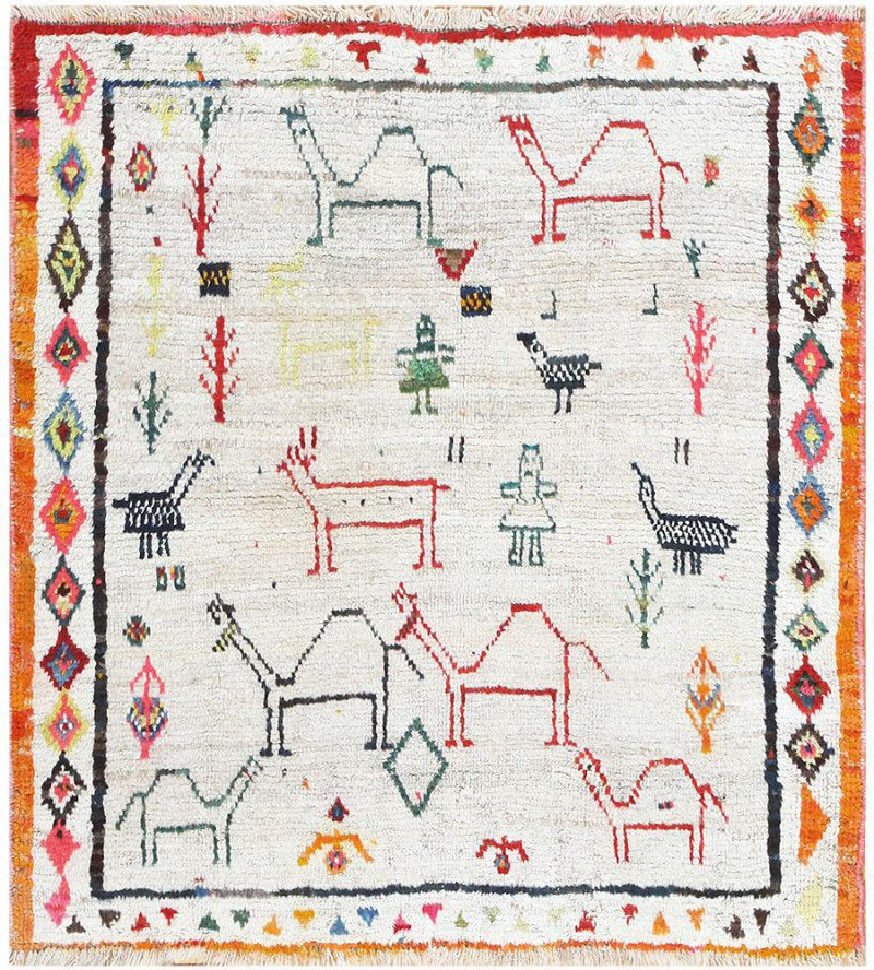 Tribal Village Persian Gabbeh rug with Geometric People and Animal Design Pattern by Nazmiyal