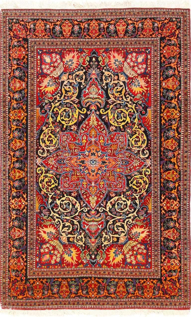 vintage dark background isfahan persian rug 49250 Nazmiyal