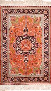 vintage silk heriz persian rug 49248 Nazmiyal