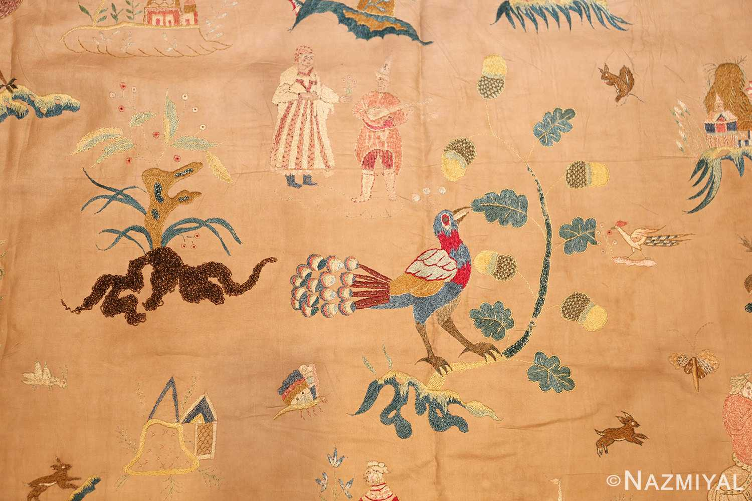 18th century indian embroidery textile 49098 peacock Nazmiyal