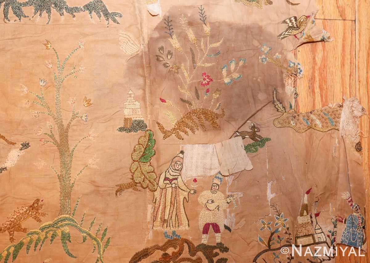 18th century indian embroidery textile 49099 corner Nazmiyal