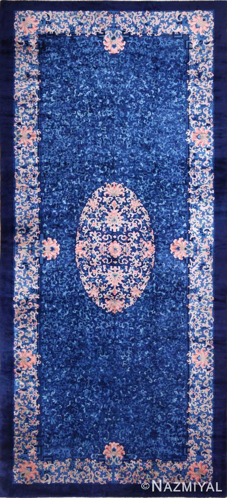 antique blue background chinese rug 49240 Nazmiyal