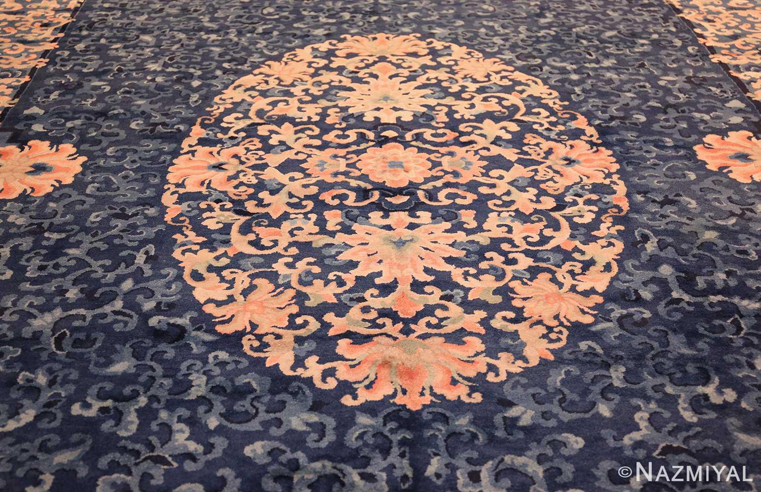 antique blue background chinese rug 49240 medallion Nazmiyal