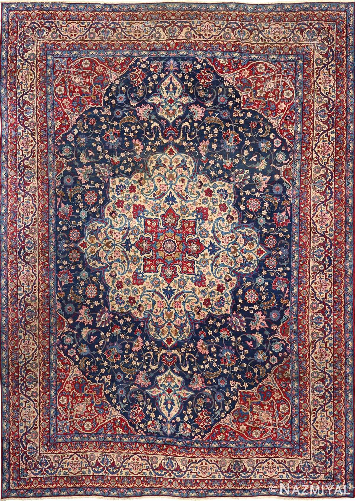 antique blue bakground isfahan persian rug 51066 Nazmiyal