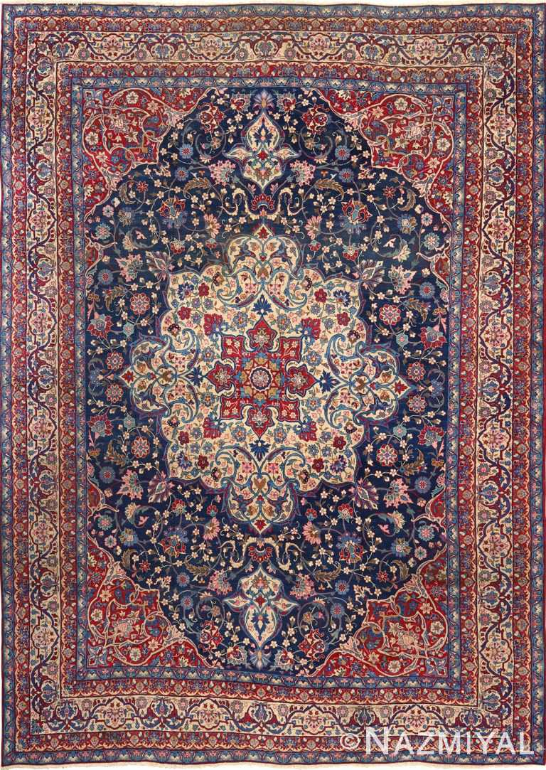 antique blue background isfahan persian rug 51066 Nazmiyal