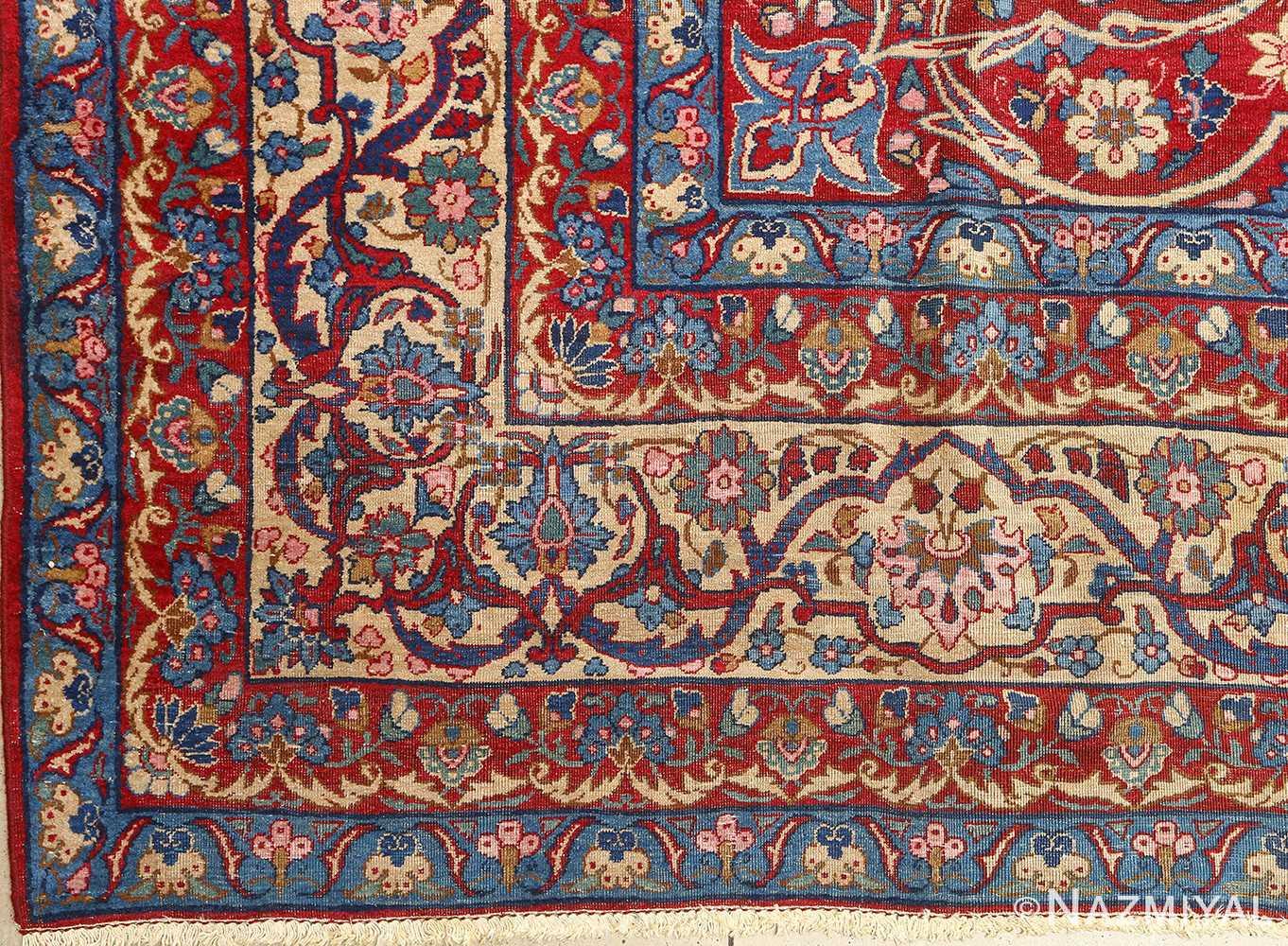 antique blue bakground isfahan persian rug 51066 border Nazmiyal