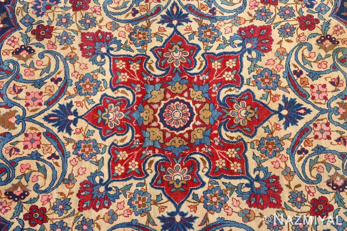 antique blue bakground isfahan persian rug 51066 center Nazmiyal