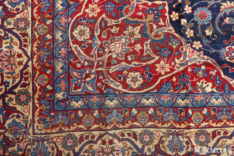 antique blue bakground isfahan persian rug 51066 corner Nazmiyal