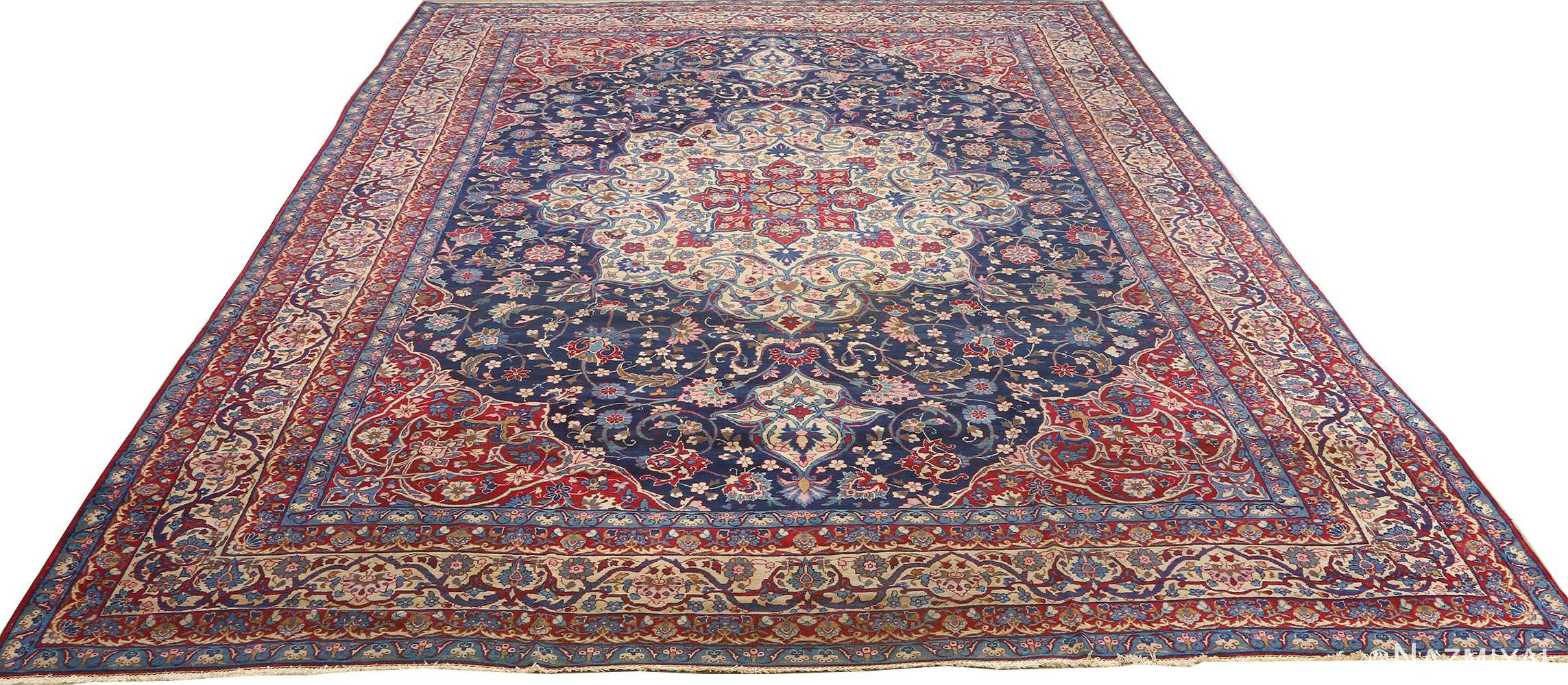 antique blue bakground isfahan persian rug 51066 full white Nazmiyal