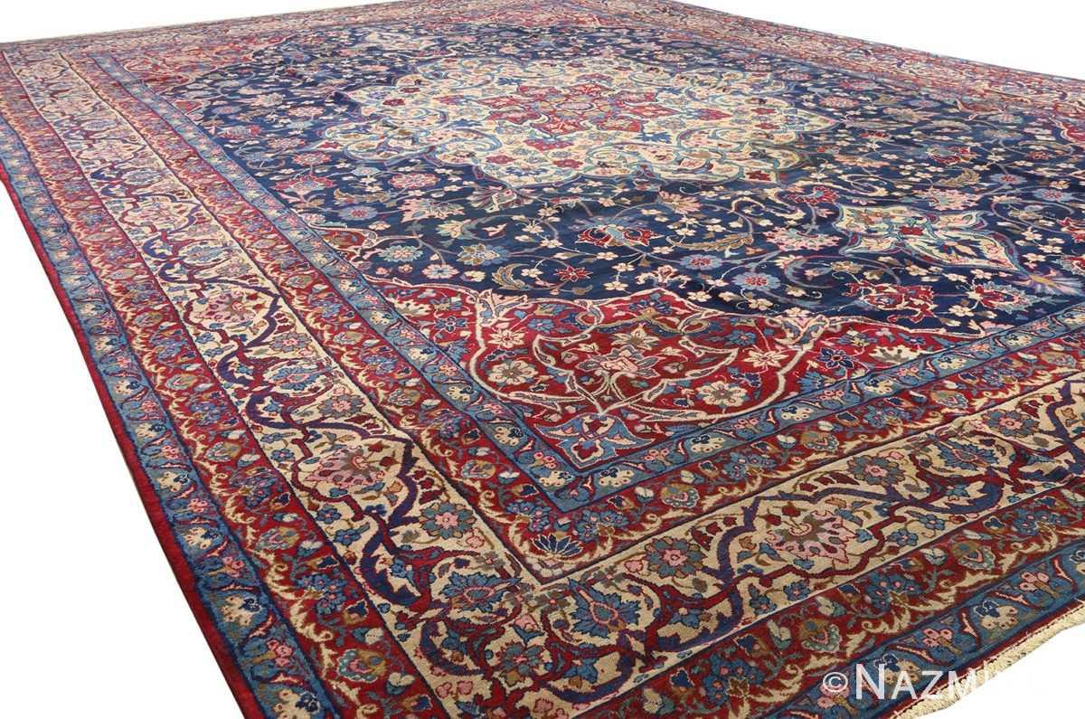 antique blue bakground isfahan persian rug 51066 side white Nazmiyal