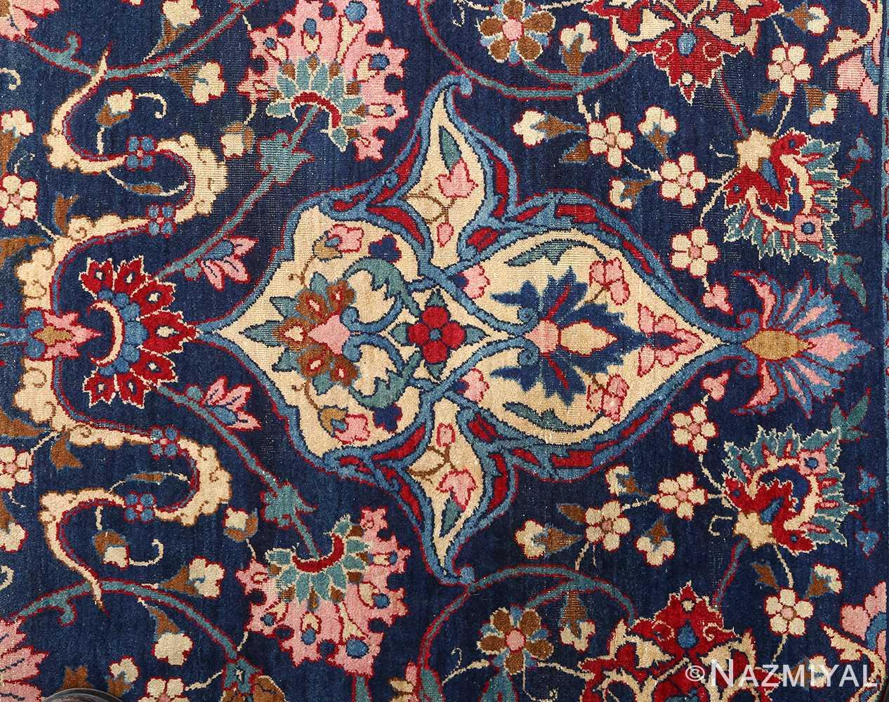 antique blue bakground isfahan persian rug 51066 top Nazmiyal