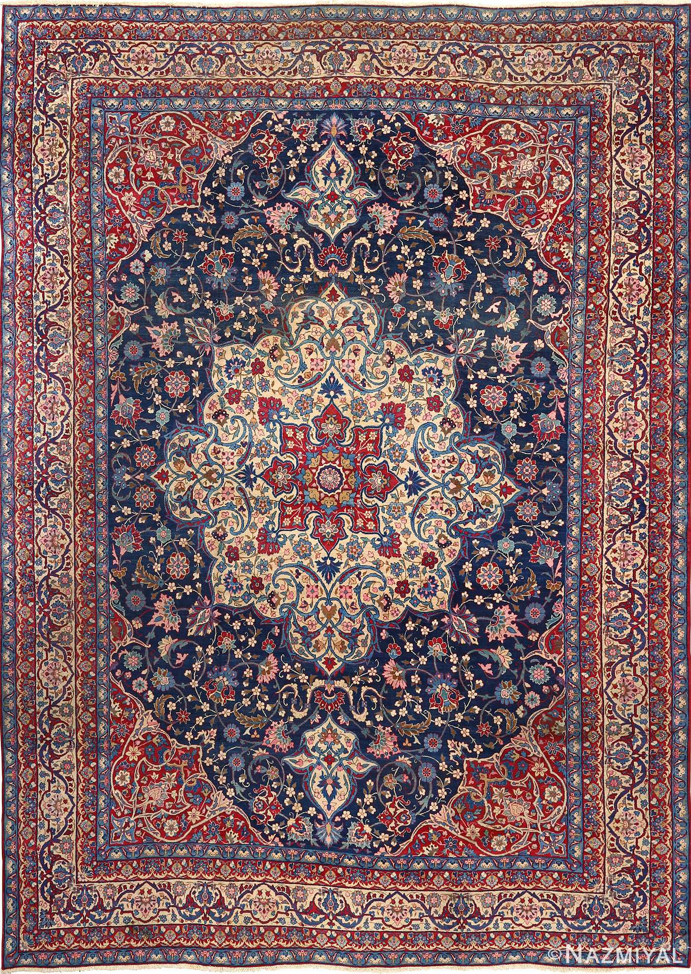 Beautiful Antique Blue Background Isfahan Persian Rug 51066