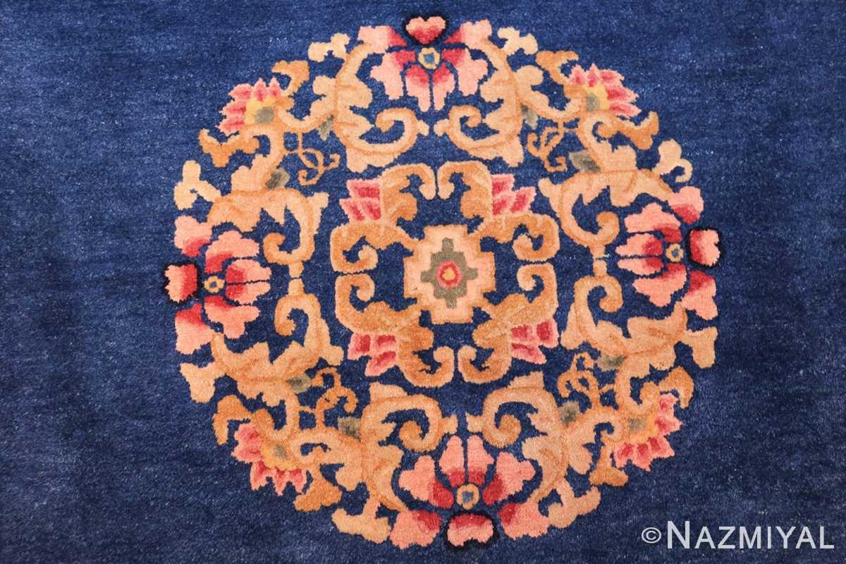 antique blue chinese rug 49243 medallion Nazmiyal