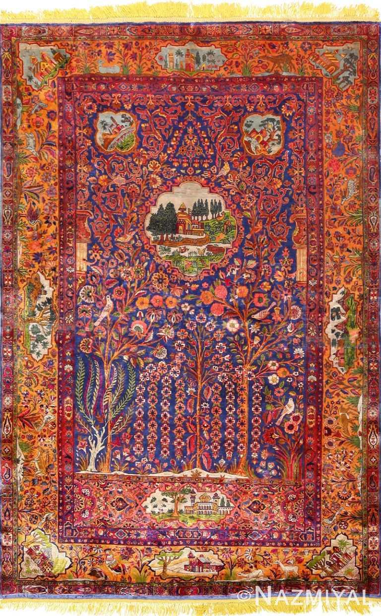 Antique Tafazoli Silk Kashan Persian Rug 49252 Nazmiyal Antique Rugs