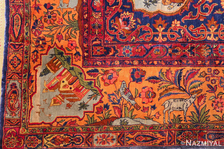 antique navy background silk kashan persian rug 49252 bird Nazmiyal