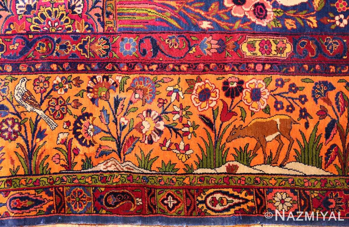 antique navy background silk kashan persian rug 49252 bush Nazmiyal