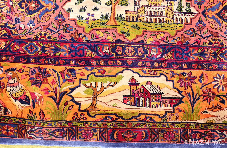 antique navy background silk kashan persian rug 49252 church Nazmiyal