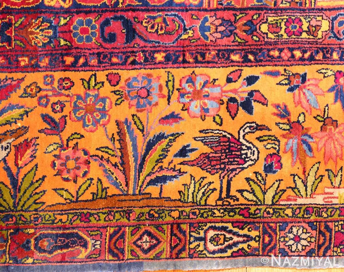 antique navy background silk kashan persian rug 49252 crain Nazmiyal
