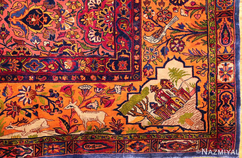 antique navy background silk kashan persian rug 49252 deer Nazmiyal