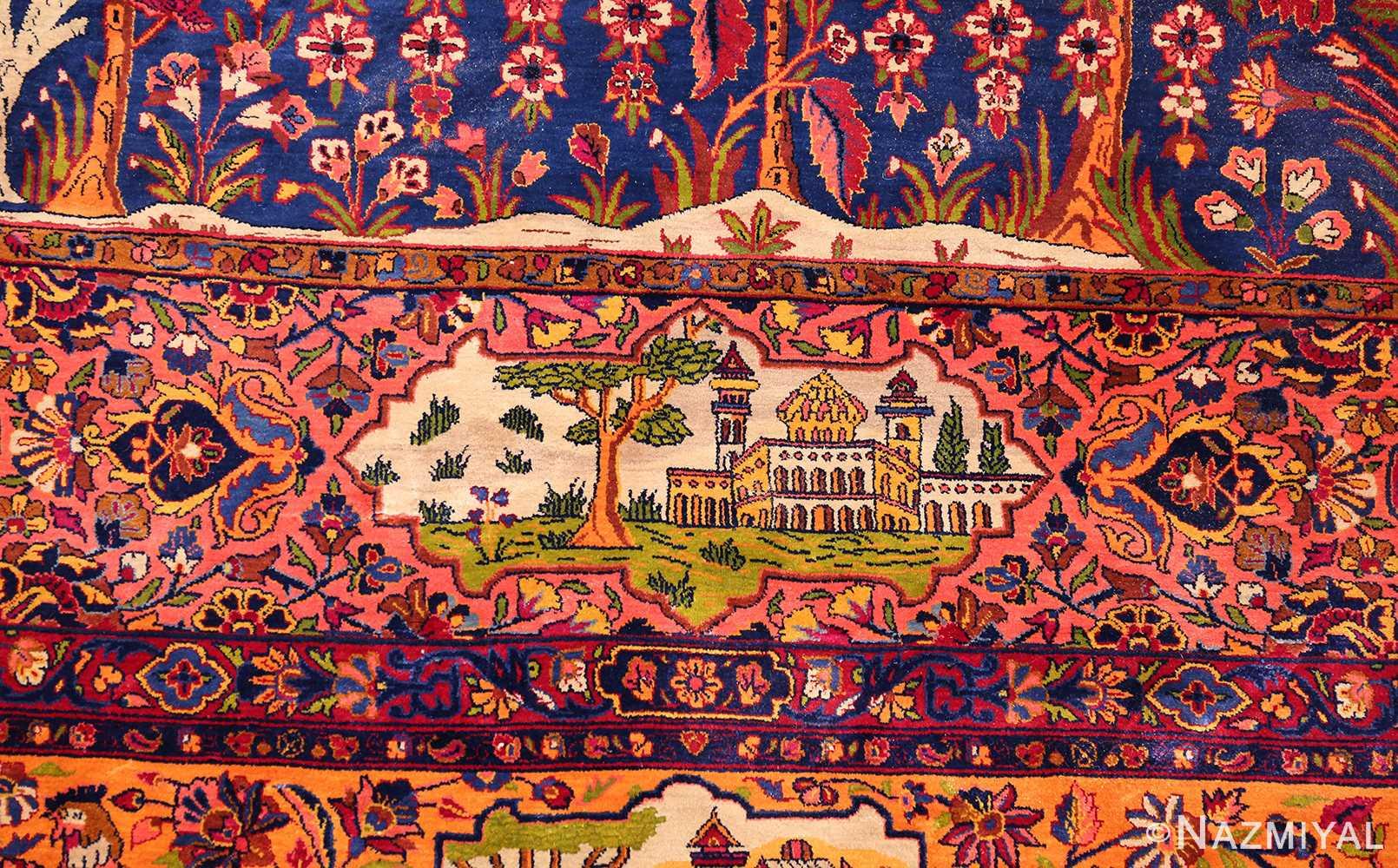 antique navy background silk kashan persian rug 49252 dome Nazmiyal
