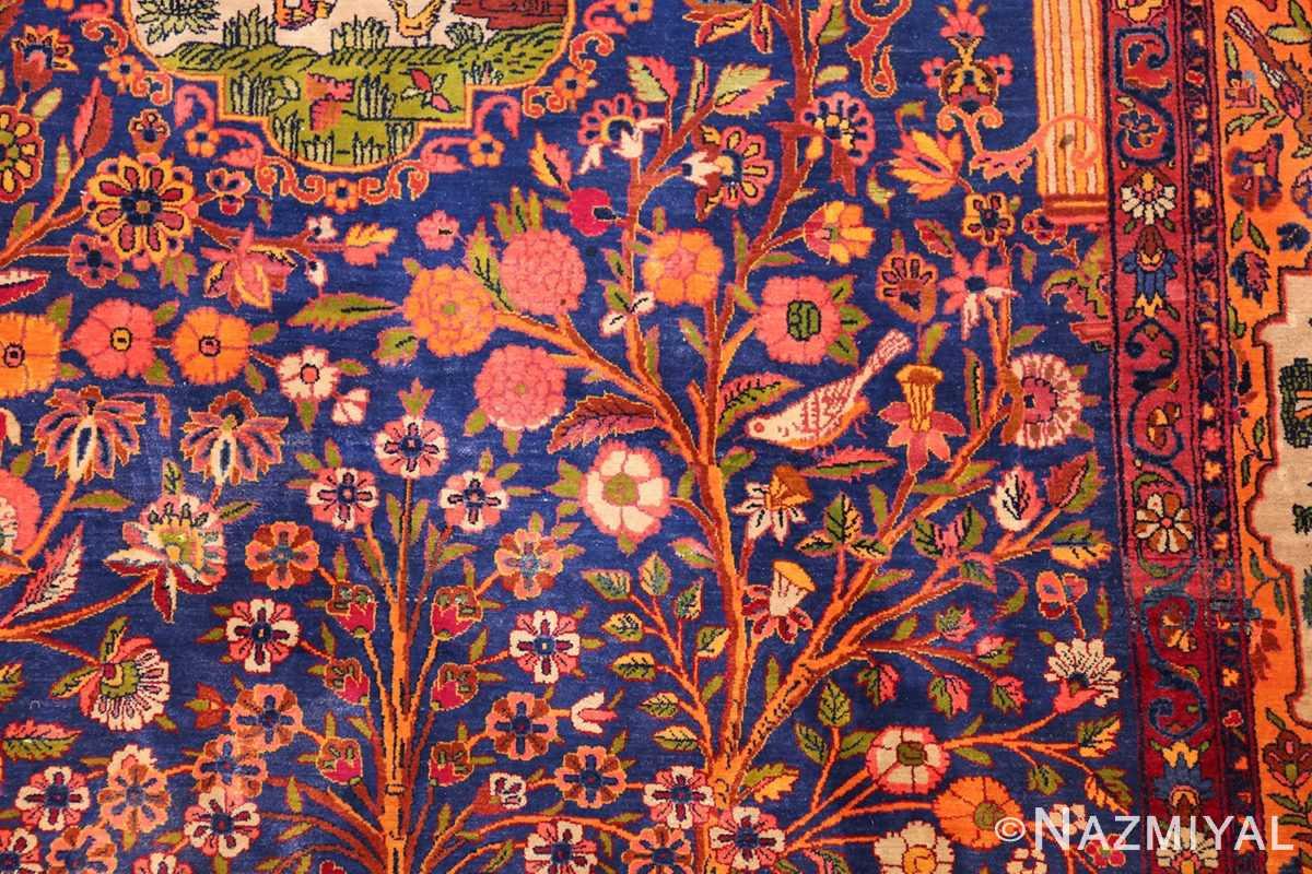 antique navy background silk kashan persian rug 49252 field Nazmiyal