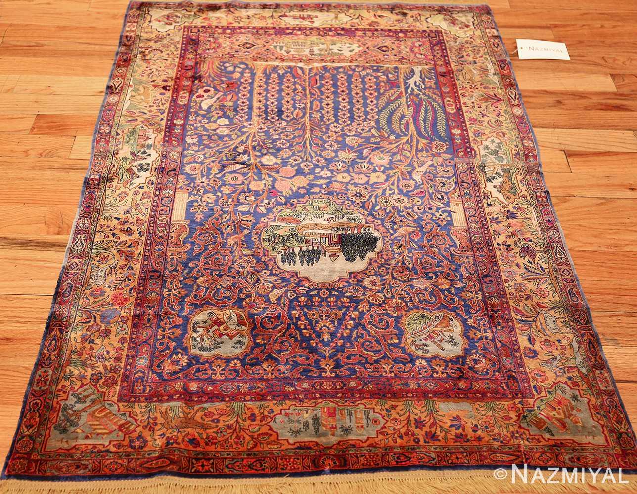 antique navy background silk kashan persian rug 49252 lightside Nazmiyal