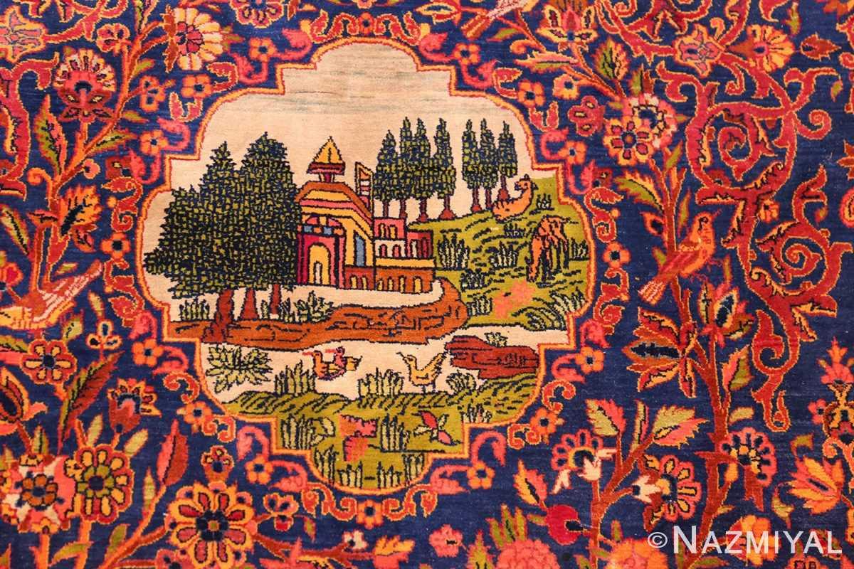 antique navy background silk kashan persian rug 49252 mansion Nazmiyal