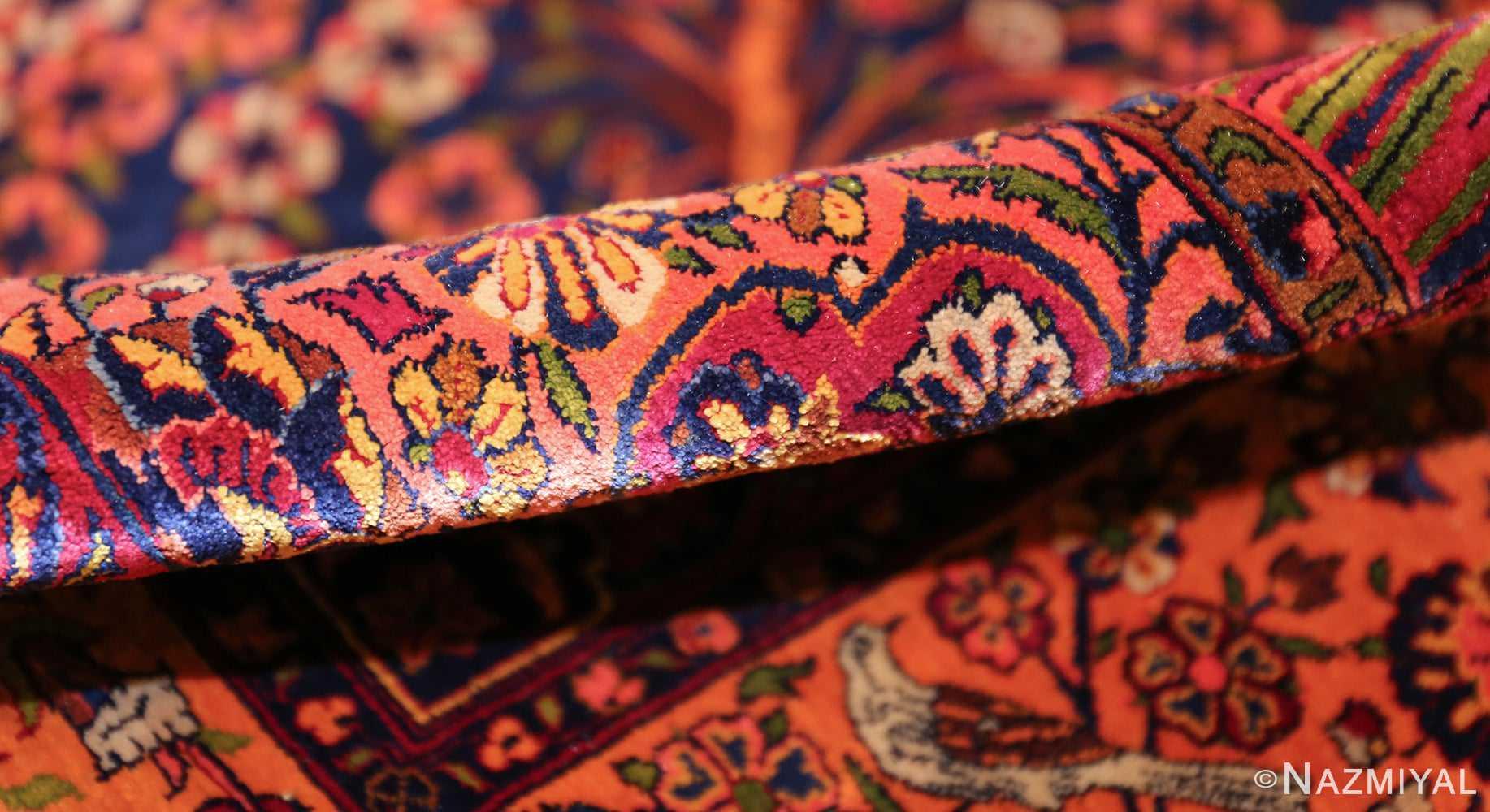 antique navy background silk kashan persian rug 49252 pile Nazmiyal