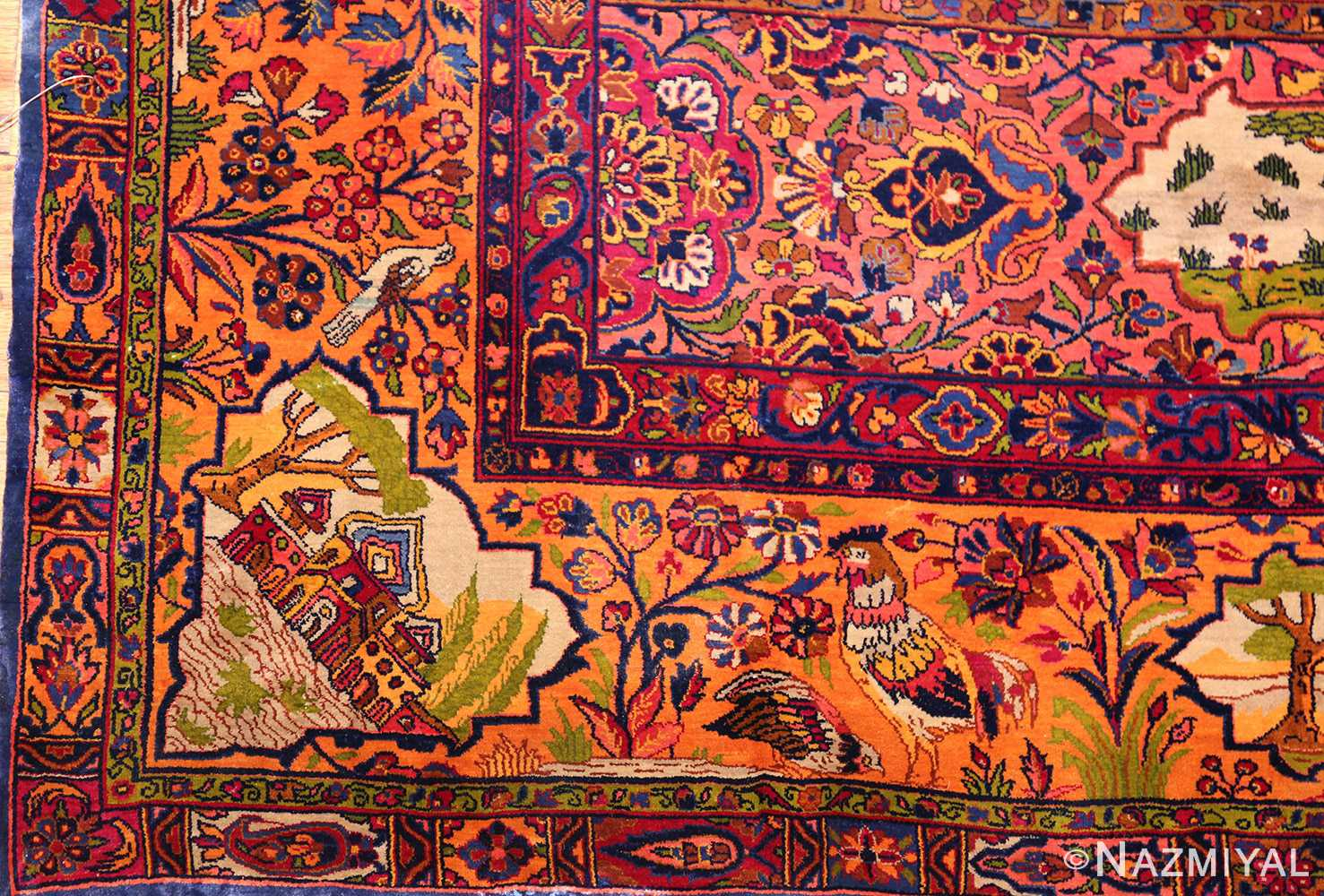antique navy background silk kashan persian rug 49252 rooster Nazmiyal