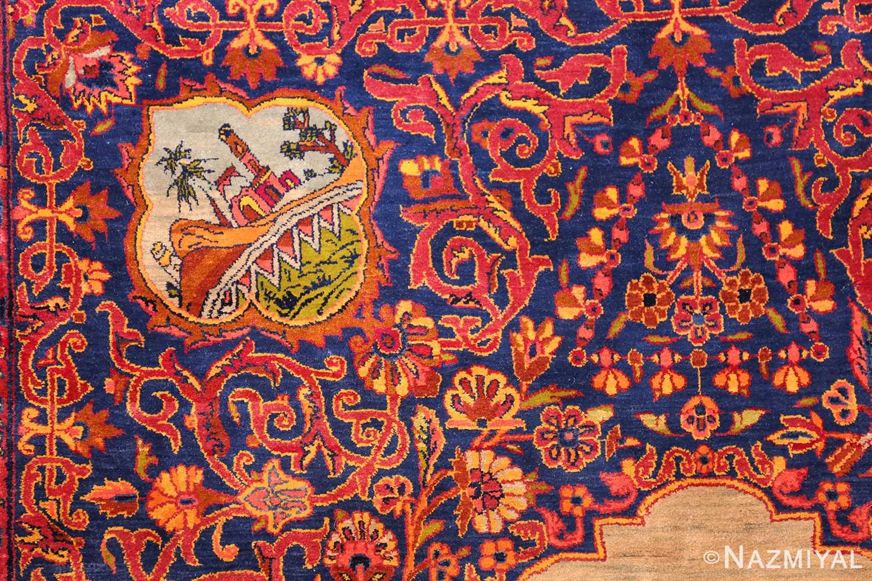 antique navy background silk kashan persian rug 49252 style Nazmiyal