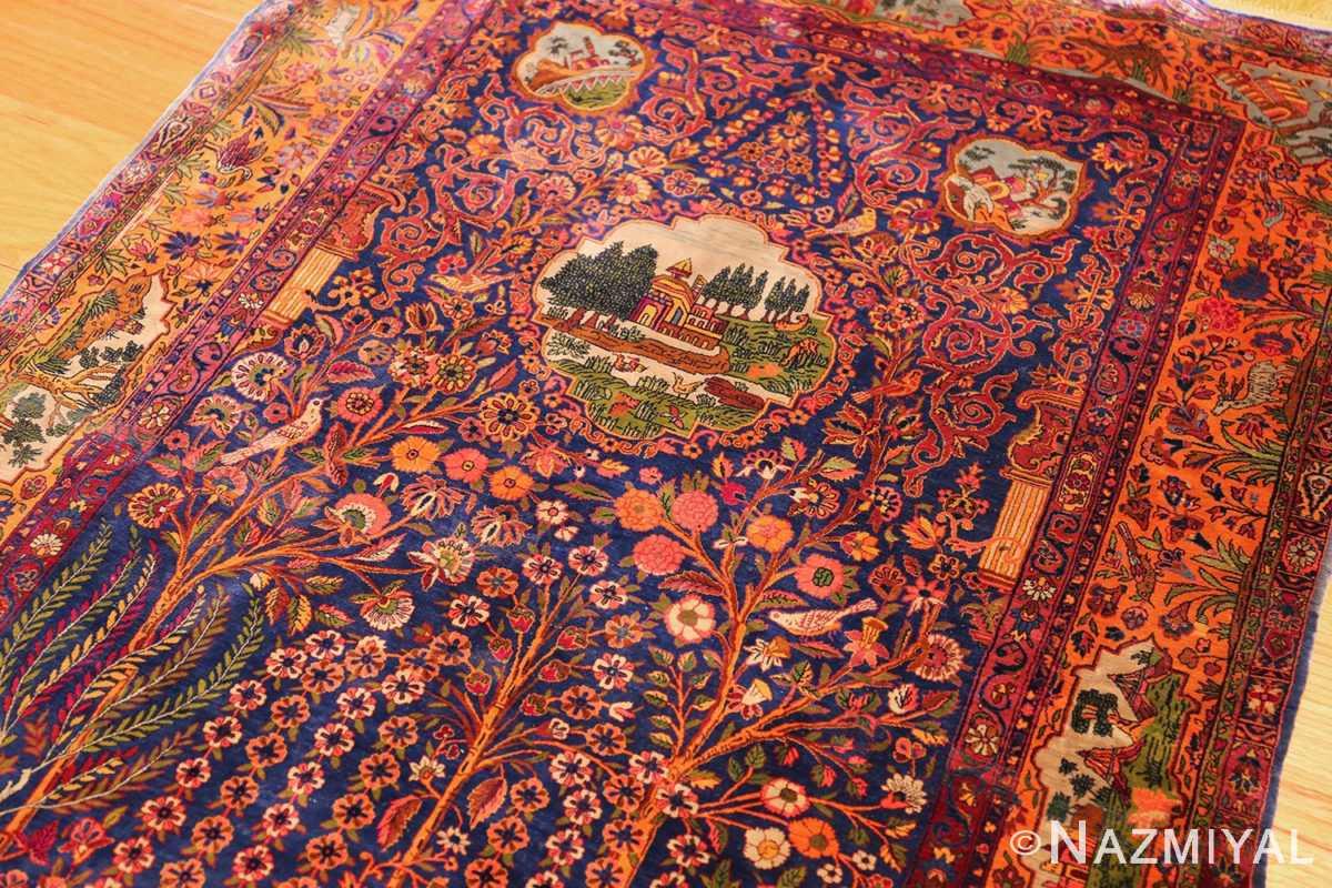 antique navy background silk kashan persian rug 49252 top Namziyal