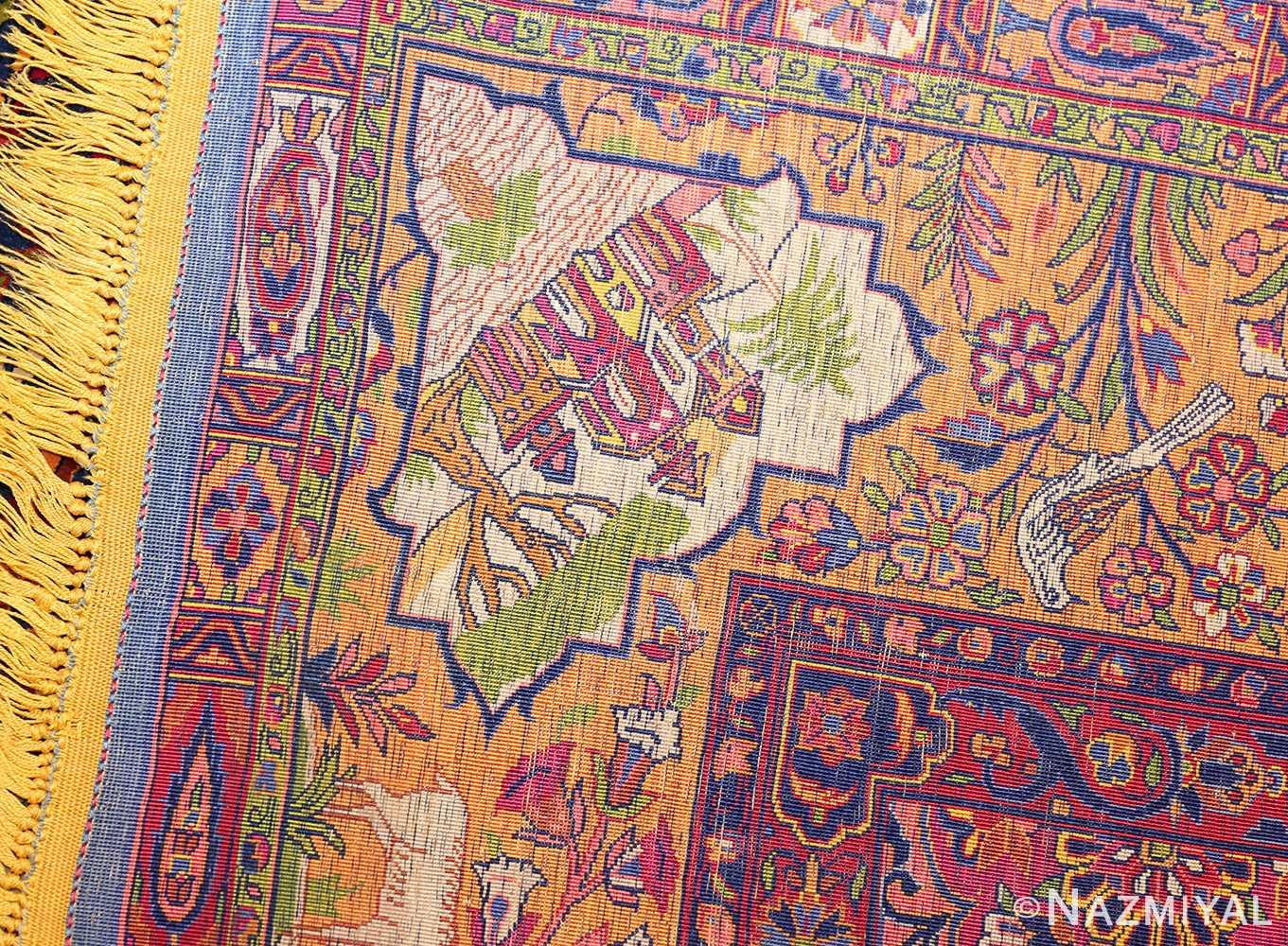antique navy background silk kashan persian rug 49252 weave Nazmiyal