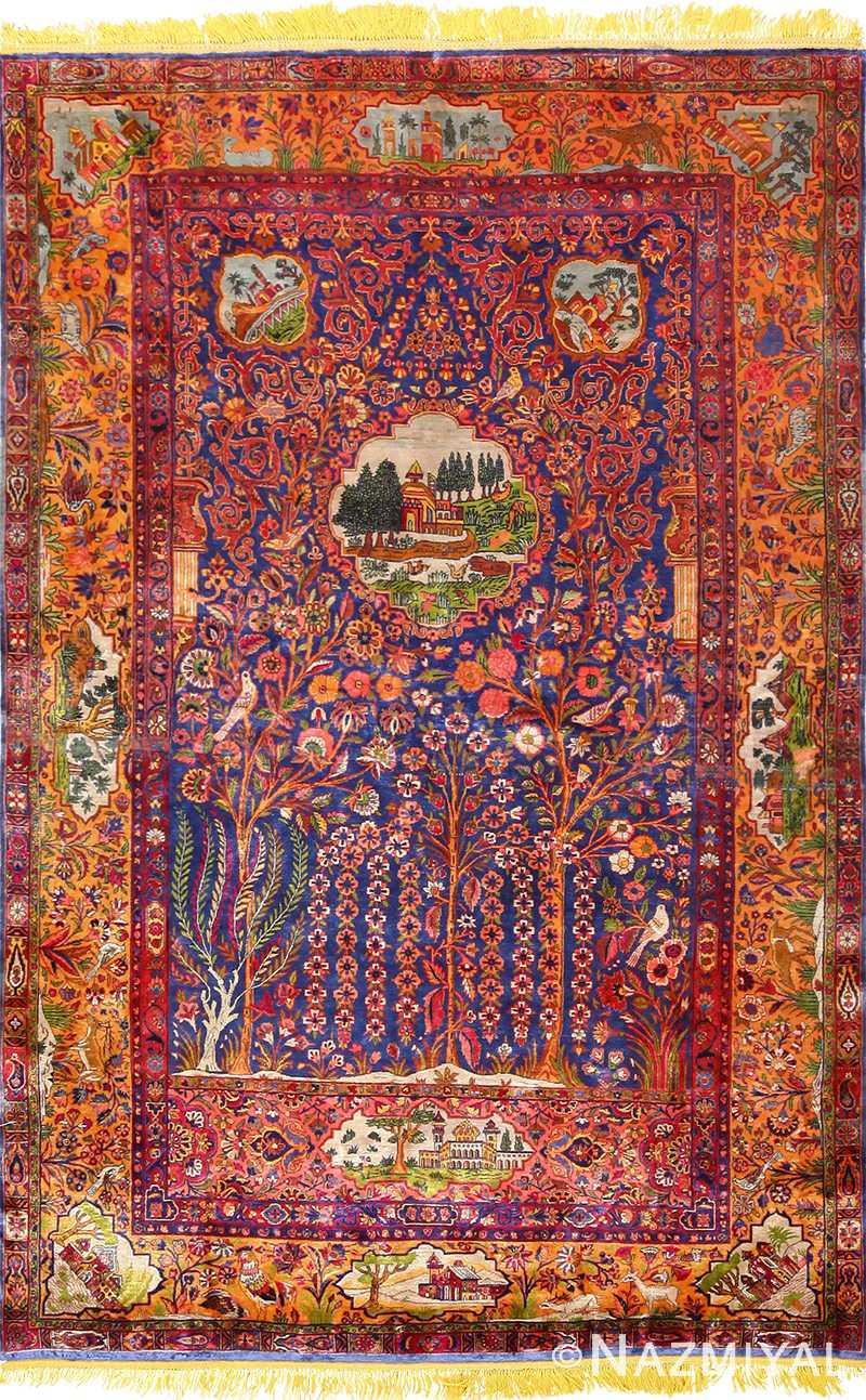 antique navy background silk kashan persian rug 49252 Nazmiyal