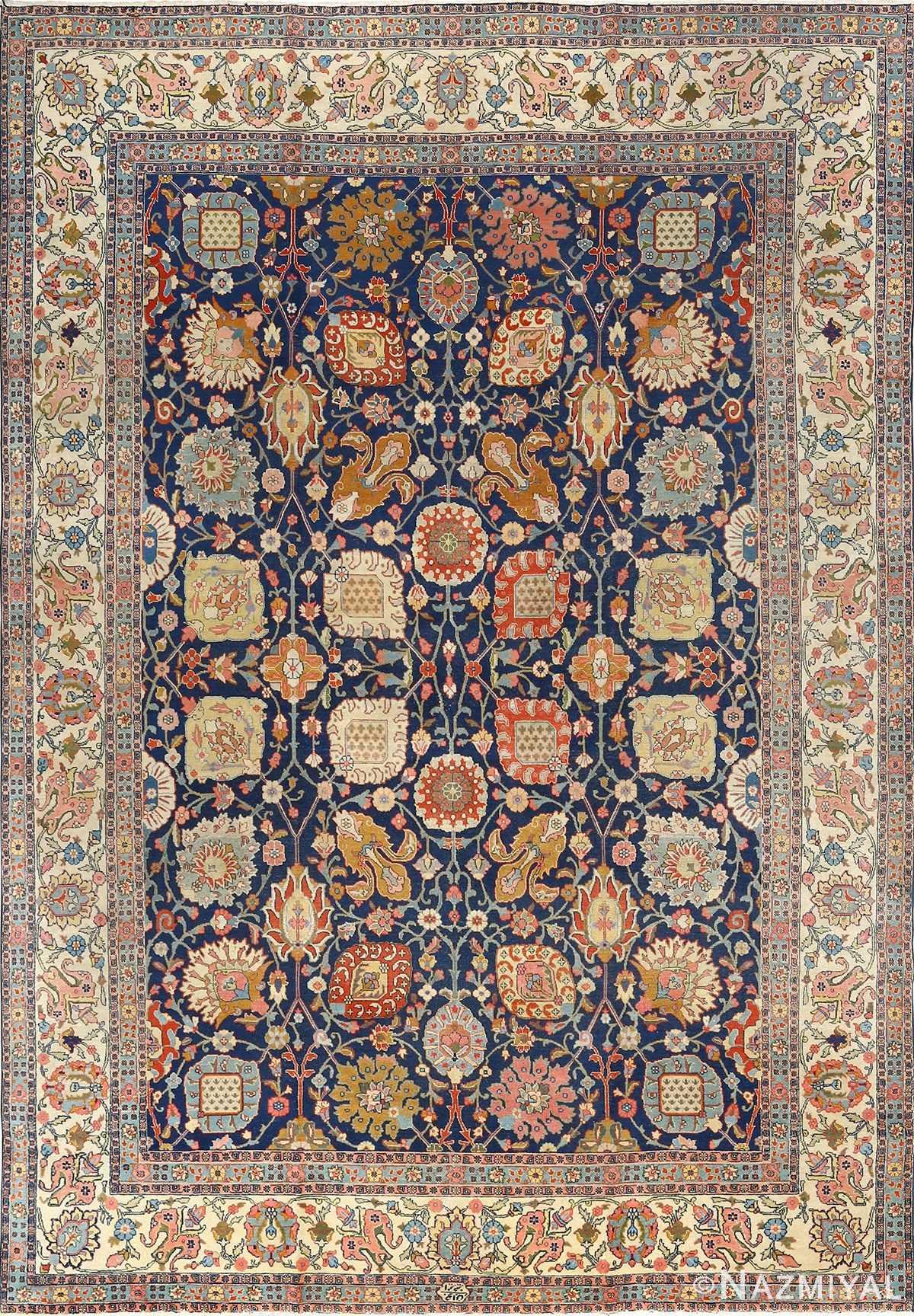 antique navy bakground tabriz persian rug 51061 Nazmiyal
