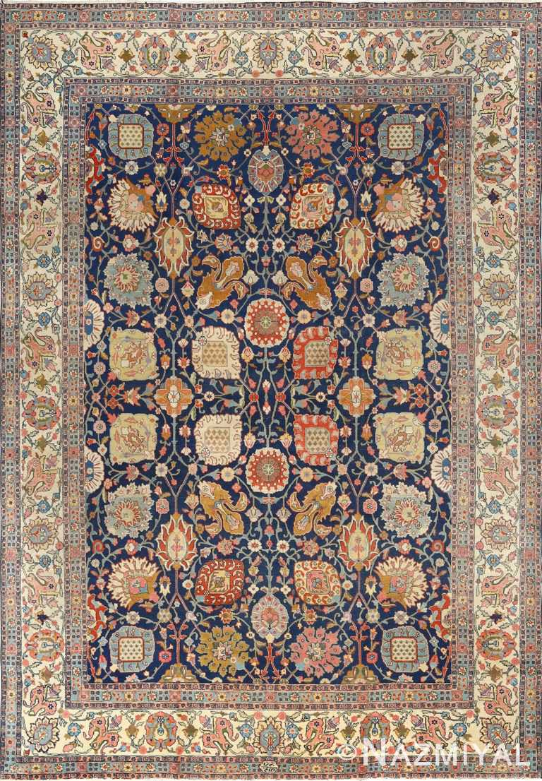 antique navy bakground tabriz persian rug 51061 Nazmiyal