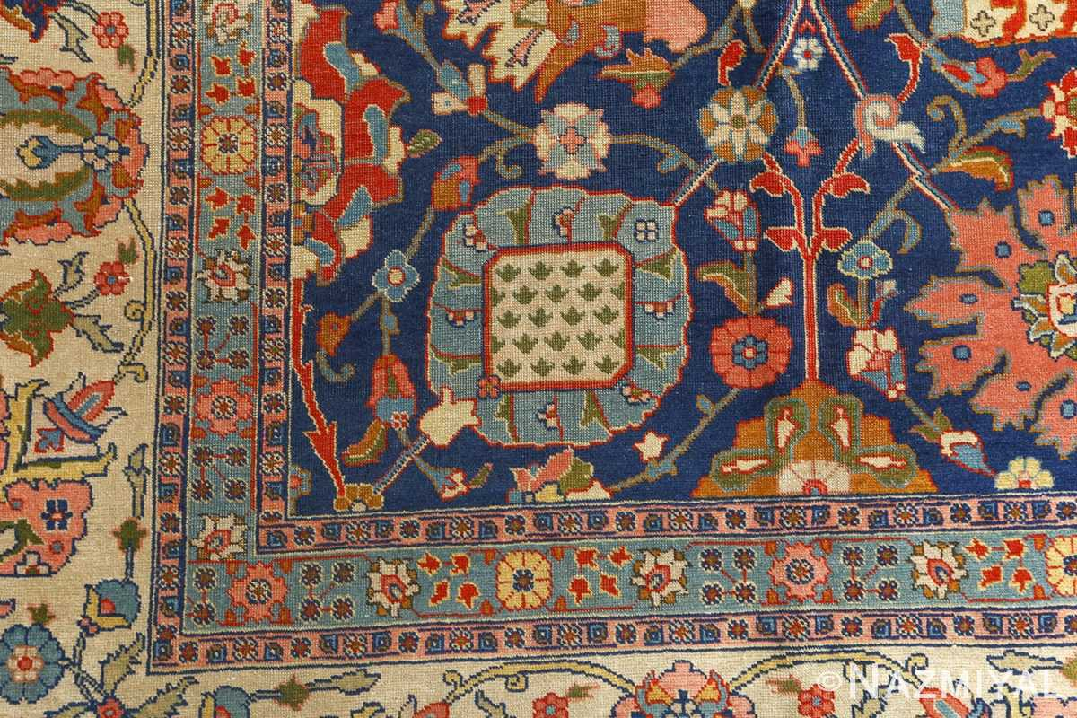 antique navy bakground tabriz persian rug 51061 corner Nazmiyal