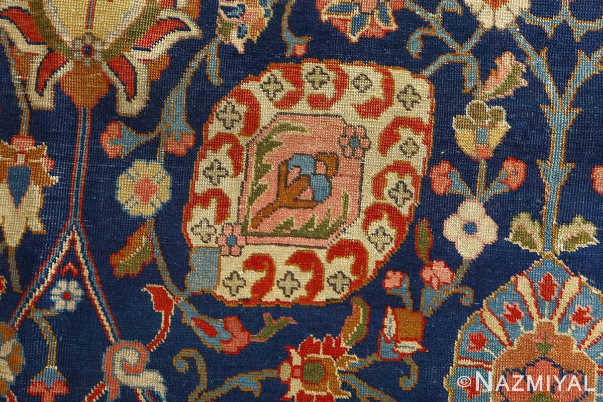 antique navy bakground tabriz persian rug 51061 field Nazmiyal