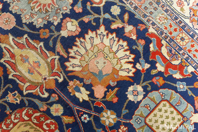 antique navy bakground tabriz persian rug 51061 flowers Nazmiyal