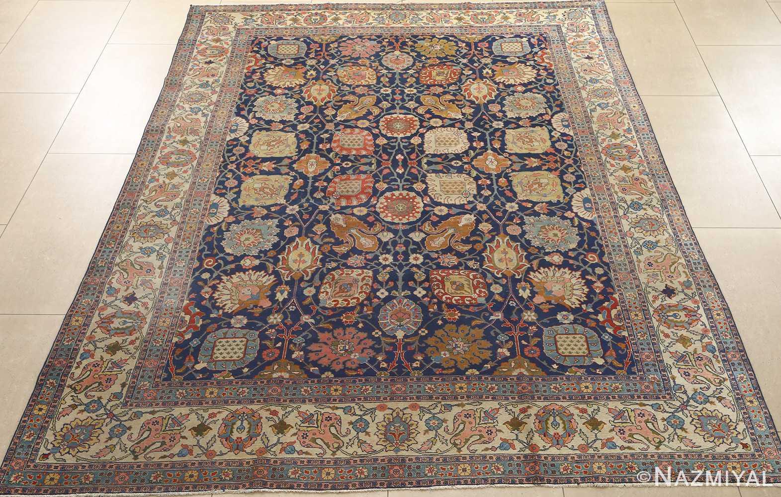 antique navy bakground tabriz persian rug 51061 full Nazmiyal