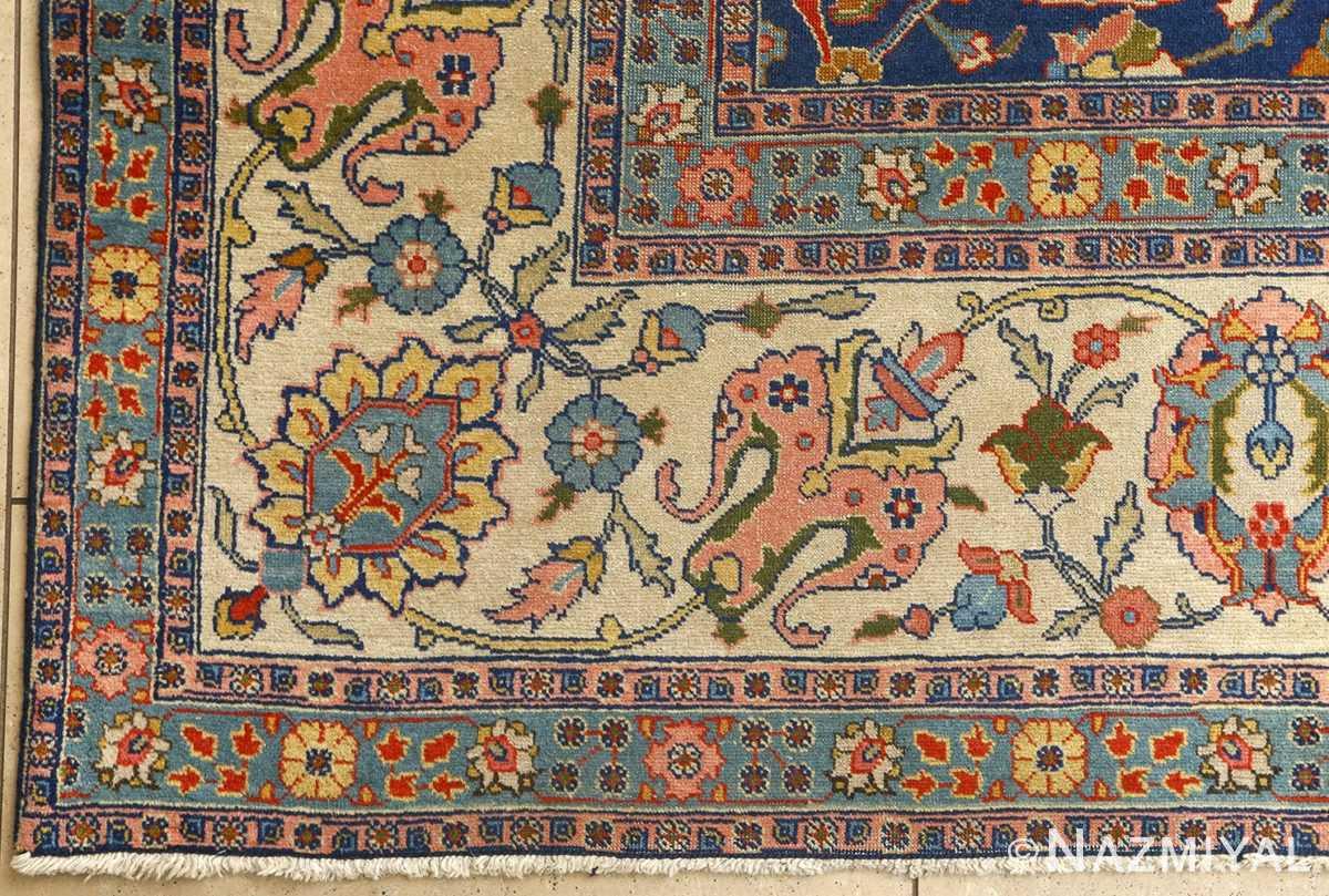 antique navy bakground tabriz persian rug 51061 part Nazmiyal