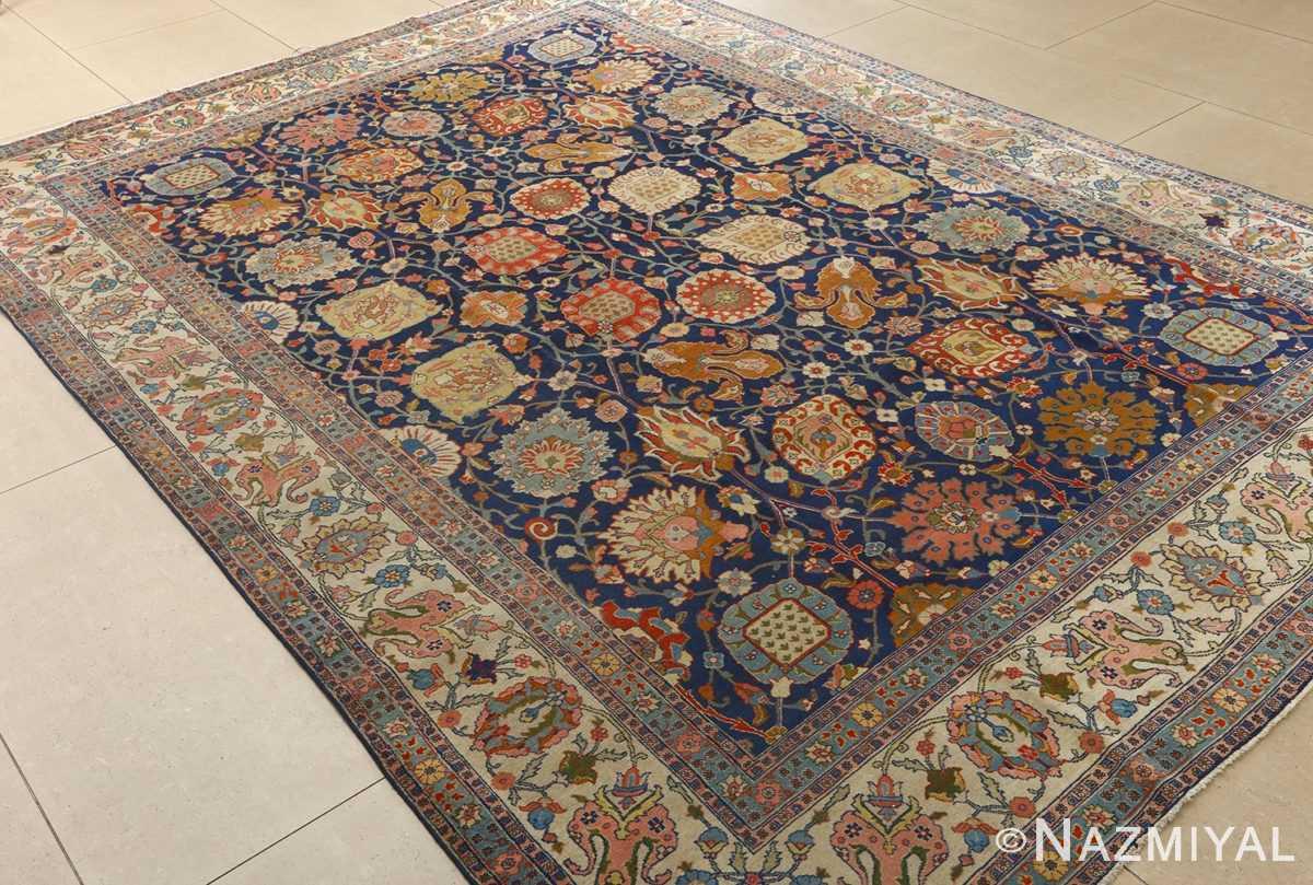 antique navy bakground tabriz persian rug 51061 side Nazmiyal