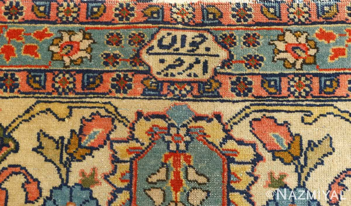antique navy bakground tabriz persian rug 51061 signature Nazmiyal