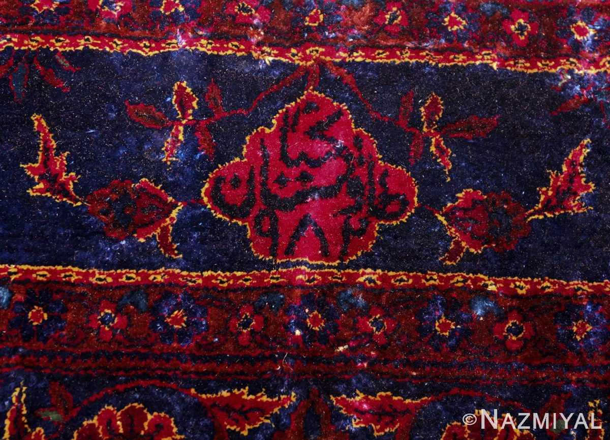 antique silk kashan persian rug 49251 signature edited Nazmiyal