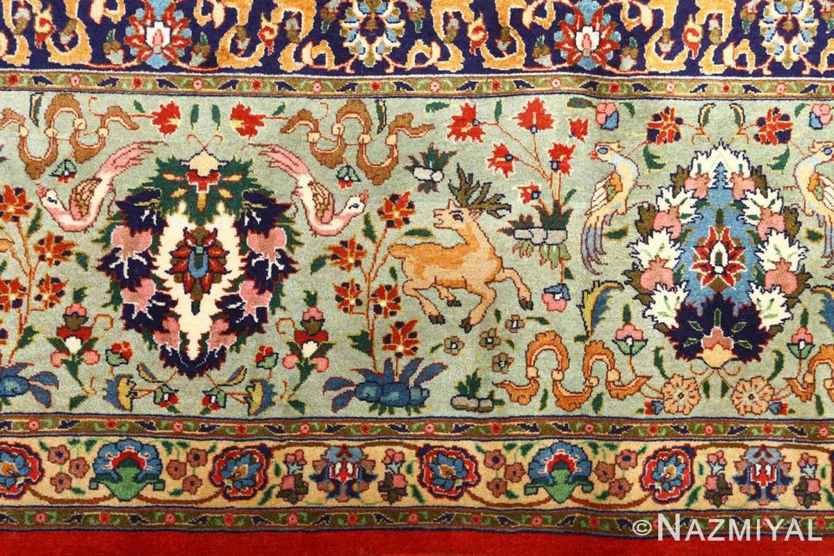 fine animal motif vintage tabriz persian rug 61064 border Nazmiyal