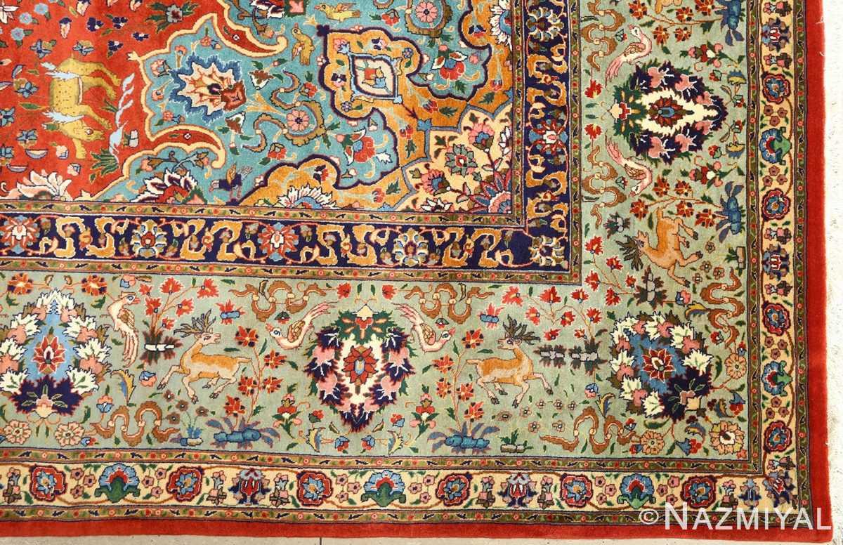 fine animal motif vintage tabriz persian rug 61064 corner Nazmiyal
