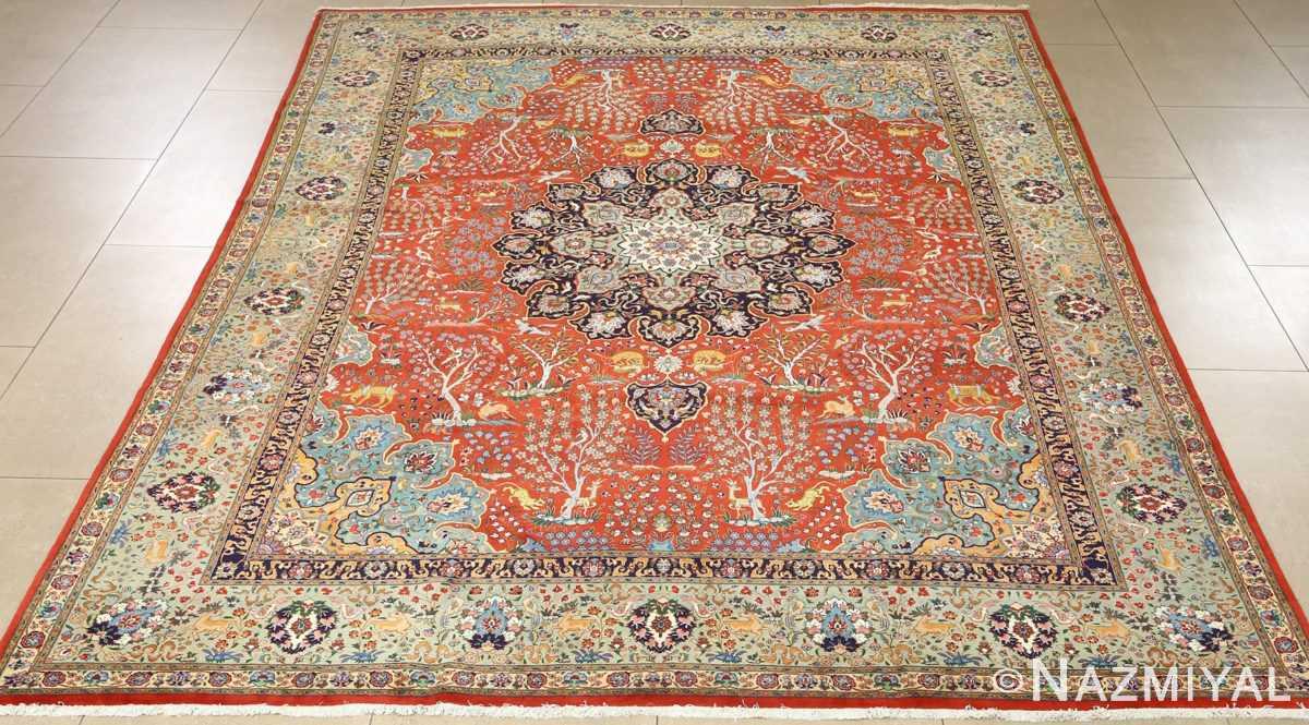 fine animal motif vintage tabriz persian rug 61064 full Nazmiyal