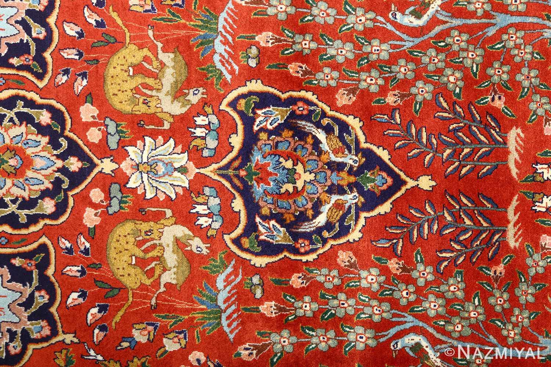 fine animal motif vintage tabriz persian rug 61064 hunt Nazmiyal