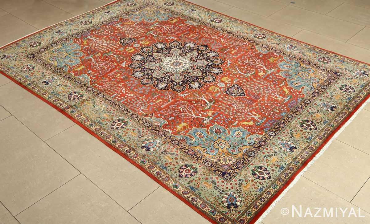 fine animal motif vintage tabriz persian rug 61064 side Nazmiayl